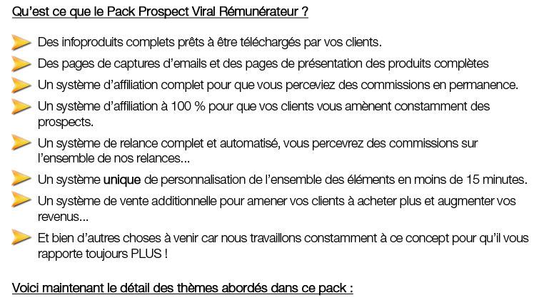 Présentation du pack prospects Viral Rémunérateur 2