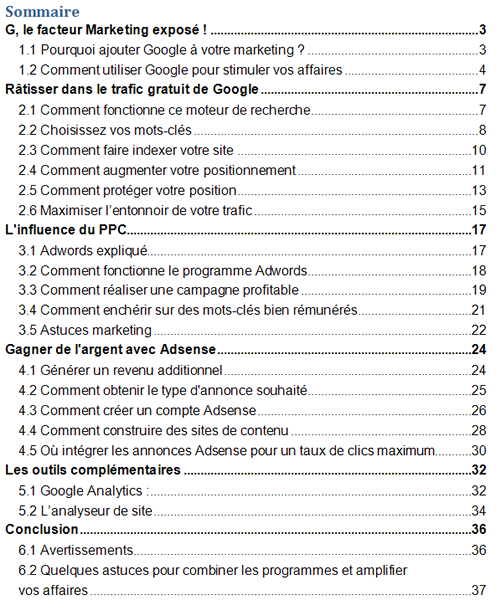 table_des_matières-Google_marketing